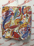 Talbots Size 24W White,Yellow, Blue & Red Paisley Print Skirt NWT!