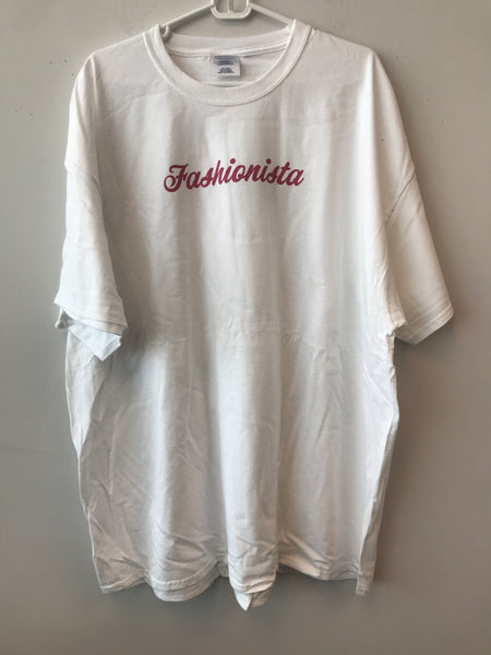 Resell XL Size 3X Cotton White FASHIONISTA T-Shirt LIVE!