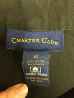 Charter Club Size 14 Black Casual Crop Cotton Blend Capri Pants