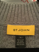 St. John Size XL 100% Wool Gray Short Sleeve Sweater