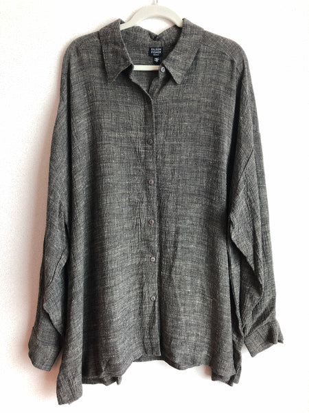 Eileen Fisher Size 3X Black Button Down Blouse
