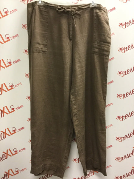 J Jill Size 18 Brown Linen Pants