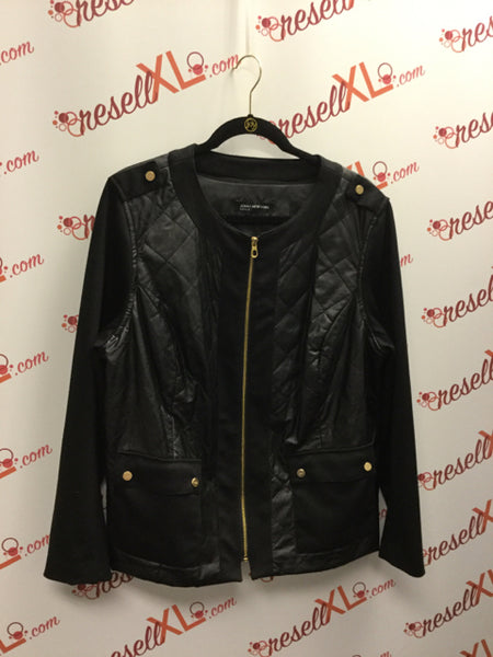 Jones New York Faux Leather Quilted Jacket Size 1X