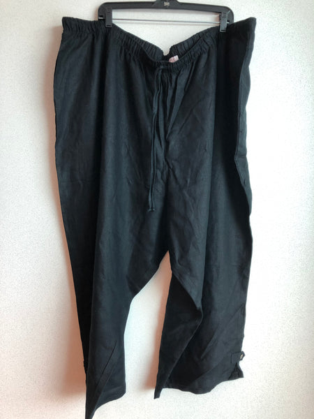 Silhouettes Size 6X Black Linen Relaxed Fit Easy Pull On Pants