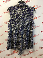 Nipon Boutique Size 1X Blue Print Shell with Bow