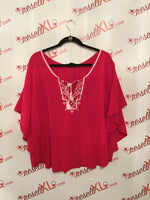 Karen Kane Size 3X Hot Pink Embroidered Peasant Blouse