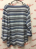 Talbots Size 3X Soft Striped Blue Top
