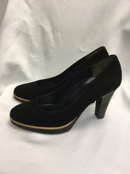 Paul Green size 10 (UK 7.5) Black Suede Pumps