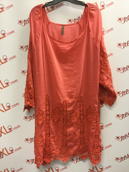 XCVI Boho Chic Pink Cotton/Silk Tunic (3X)