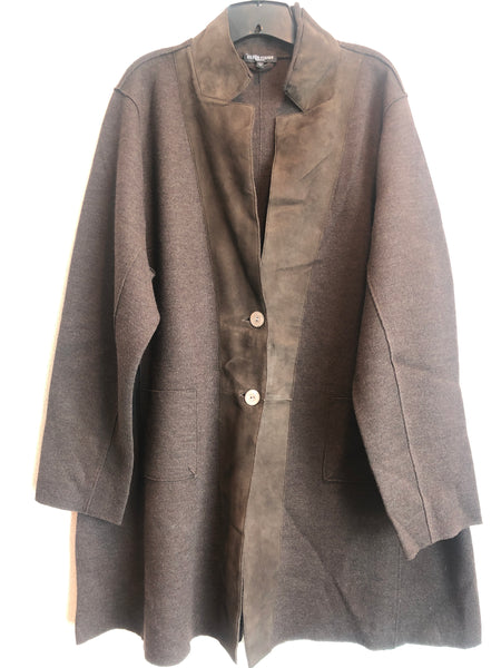 Eileen Fisher Size 3X Brown Wool Blend Jacket