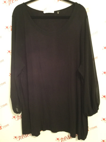 Tahari Size 3X Black Tunic with Sheer Bell Sleeves