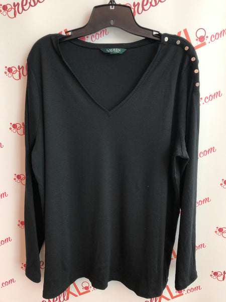 Ralph Lauren Size 2X Black Long Sleeve V Neck Top