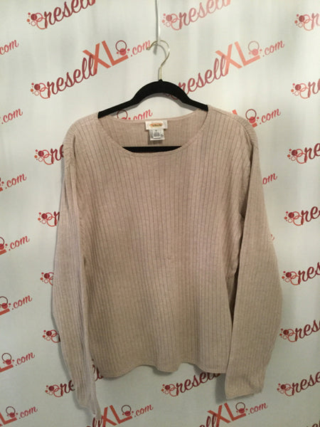 Talbots Size XL Beige Long-Sleeve Sweater