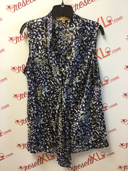 Nipon Boutique Size 1X Blue Silk Blend Printed Shell with Bow