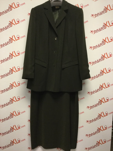 Caslon Size 18W 2 PC Green Blazer and Skirt Suit Set