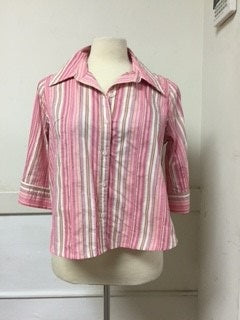 OVAL Size 22 Pink Striped Button Down Blouse (cotton blend) (petite)