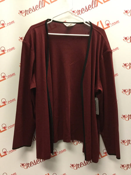 Misook Size 3P Red Wine Cardigan