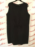 Ellen Tracy Size 14 Black Round Neck Sheath Dress