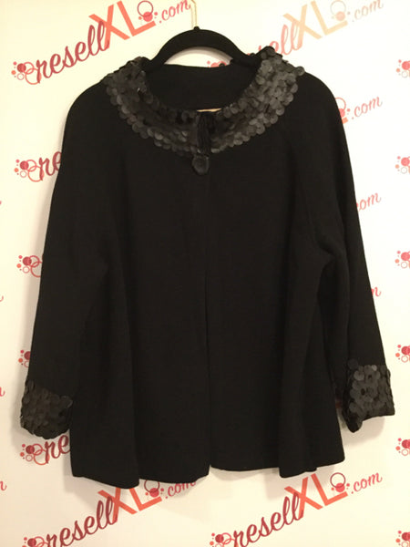 Jones New York Size XL Black Cardigan with Sequin Trim