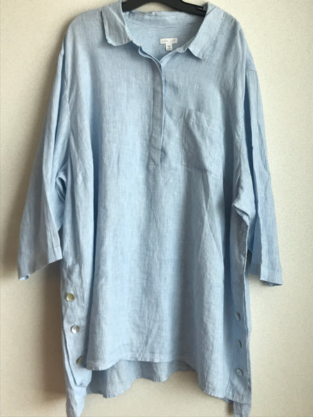 J Jill Size 4X Blue and White Striped Linen Shirt
