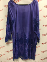 XCVI Boho Chic Blue Cotton/Silk Tunic (3X)