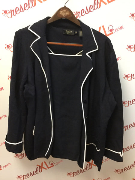 Dana Buchman 2X 2 PC Navy Knit Jacket & Top