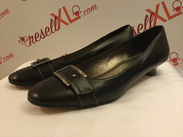 Amalfi 11B Black Kitten-Heel Pumps w/ Decorative Buckle