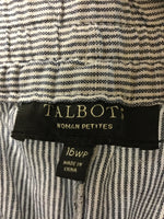 Talbots Size 16W Petite Relaxed Linen Striped Pants