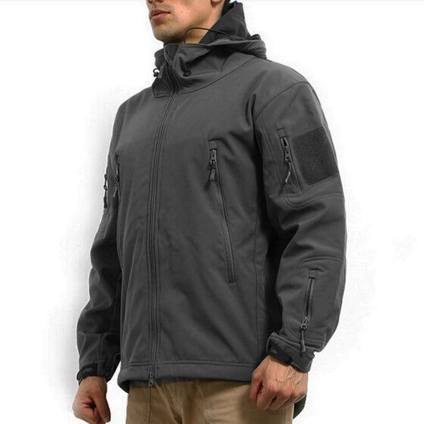 Stalker Soft Shell Waterproof & Windproof Fleece Hooded Jacket - Grey