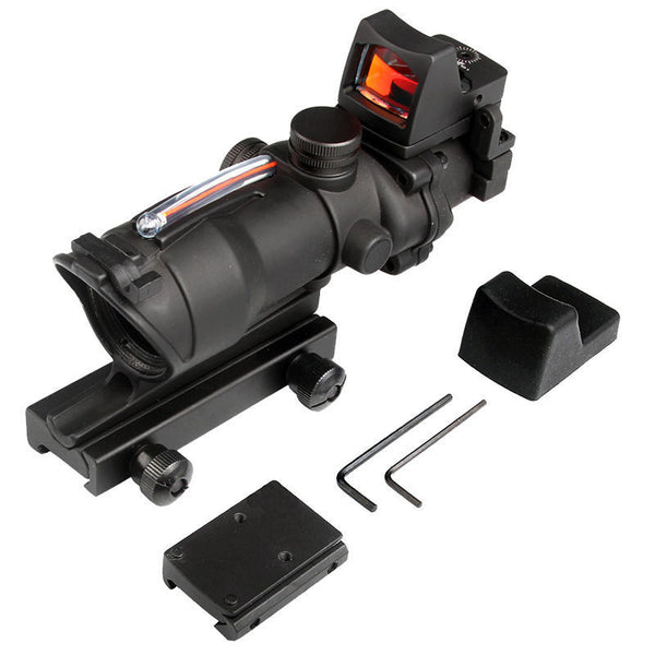 DLP Tactical ACOG Type 4x32 Fiber Optic Rifle Scope with 1x RMR mini dot sight
