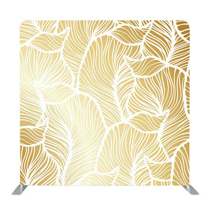 White and Gold Damask Seamless Floral Pattern Tension Fabric Backdrop