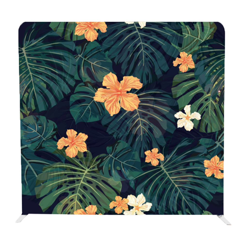 Tropical Flower with Monstera Tension Fabric Backdrop