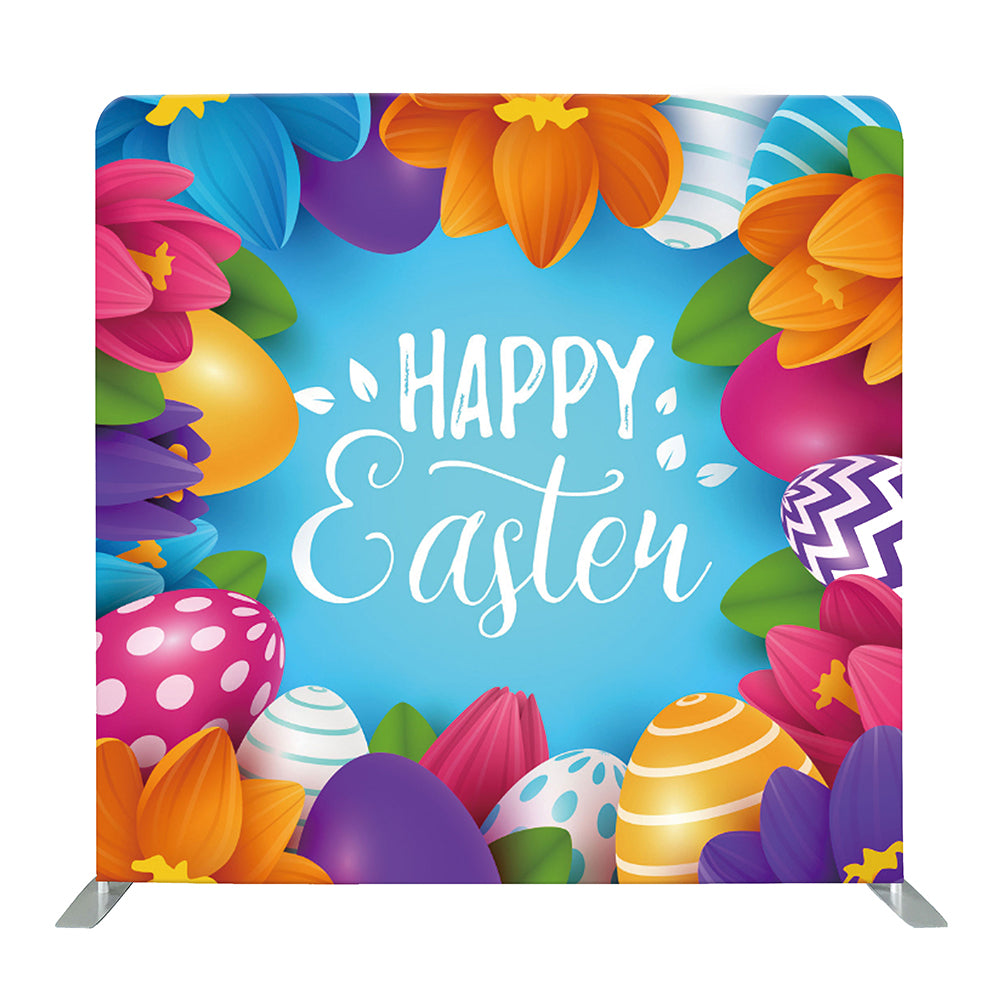 Floral Happy Easter Tension Fabric Backdrop