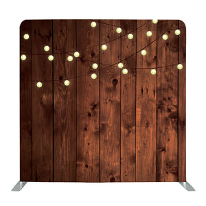 Lights on Rustic Wood Tension Fabric Backdrop