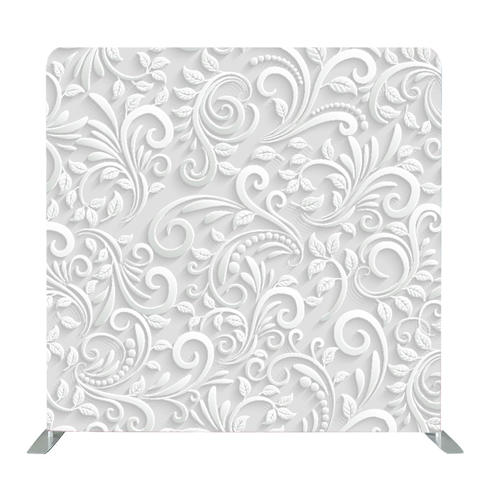 White 3D Vector Floral Seamless Tension Fabric Backdrop