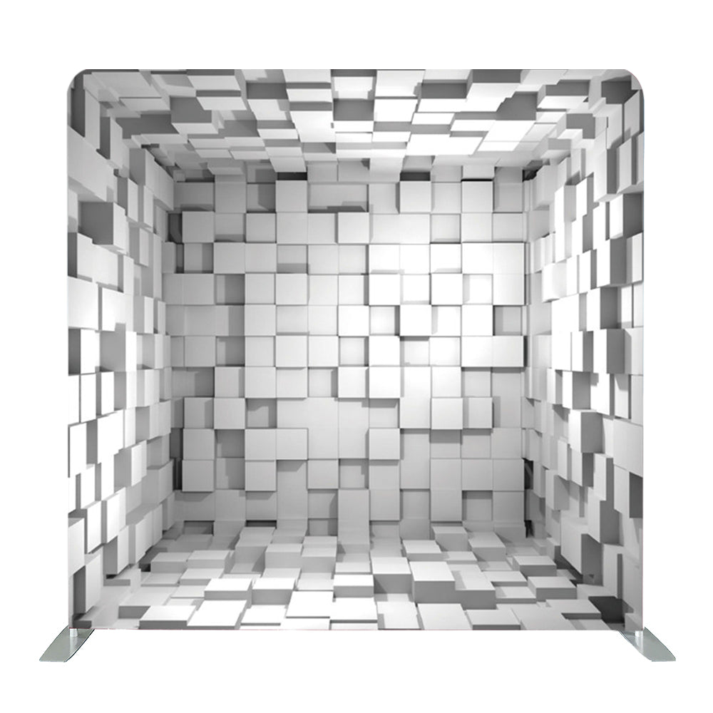 Gray 3D Cubes Tension Fabric Backdrop