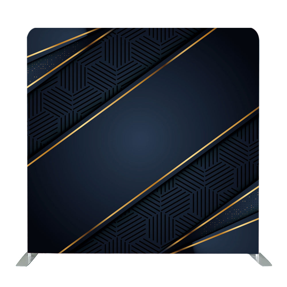 Dark Blue Gold Abstract Tension Fabric Backdrop