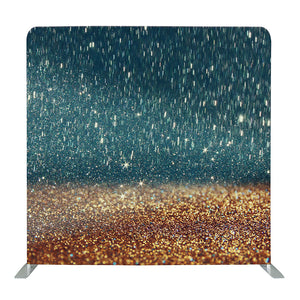 Blue and Gold Shower Glitter Tension Fabric Backdrop