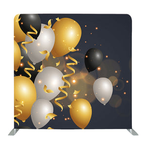 Black and Gold Balloon Tension Fabric Backdrop