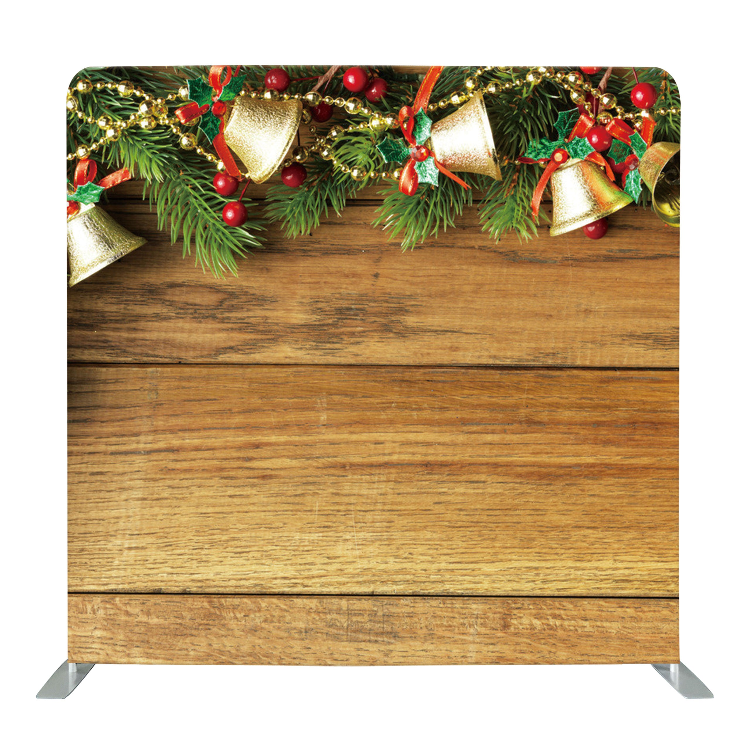 Wood with Festive Christmas Decors Tension Fabric Backdrop