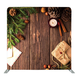 Dark Wood with Pine Cones Tension Fabric Backdrop