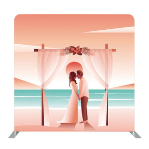 Beach Wedding Vector Art Tension Fabric Backdrop