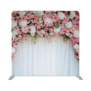 Pink Flowers for Wedding Tension Fabric Backdrop