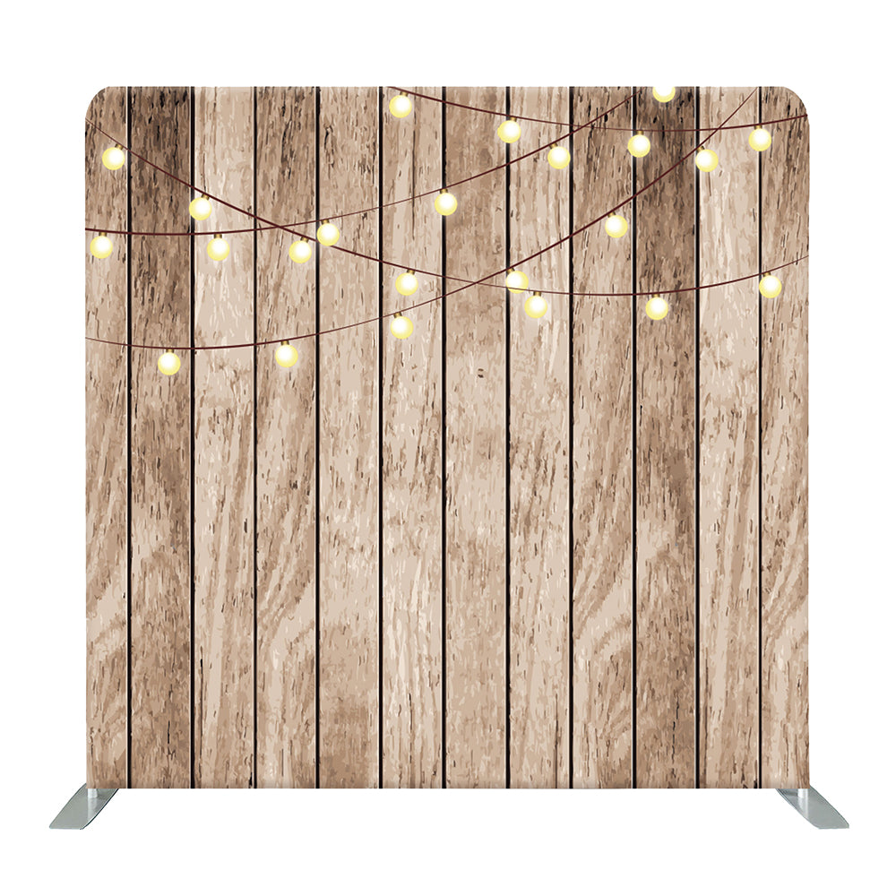 String Light on Wood Tension Fabric Backdrop