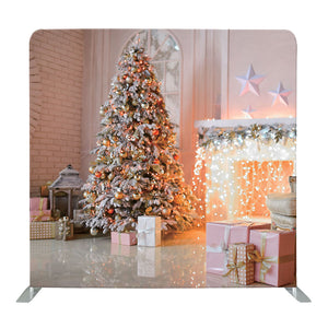 White Christmas With Fireplace String Lights Tension Fabric Backdrop