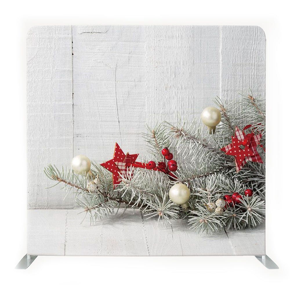 White Wall With Red & White Christmas Decors Tension Fabric Backdrop