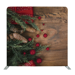 Dark Wood with Holly Stems Tension Fabric Backdrop