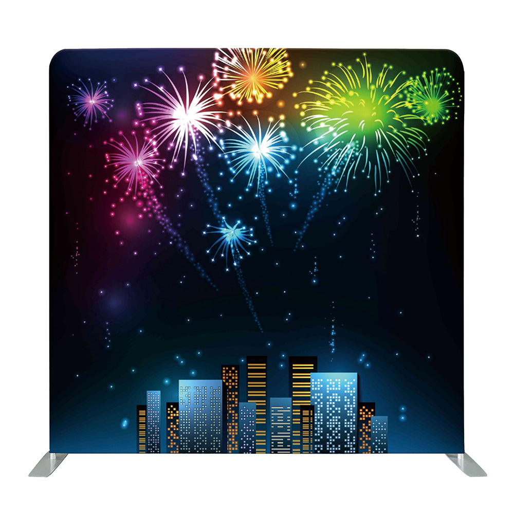 New Year's Eve Fireworks Tension Fabric Backdrop