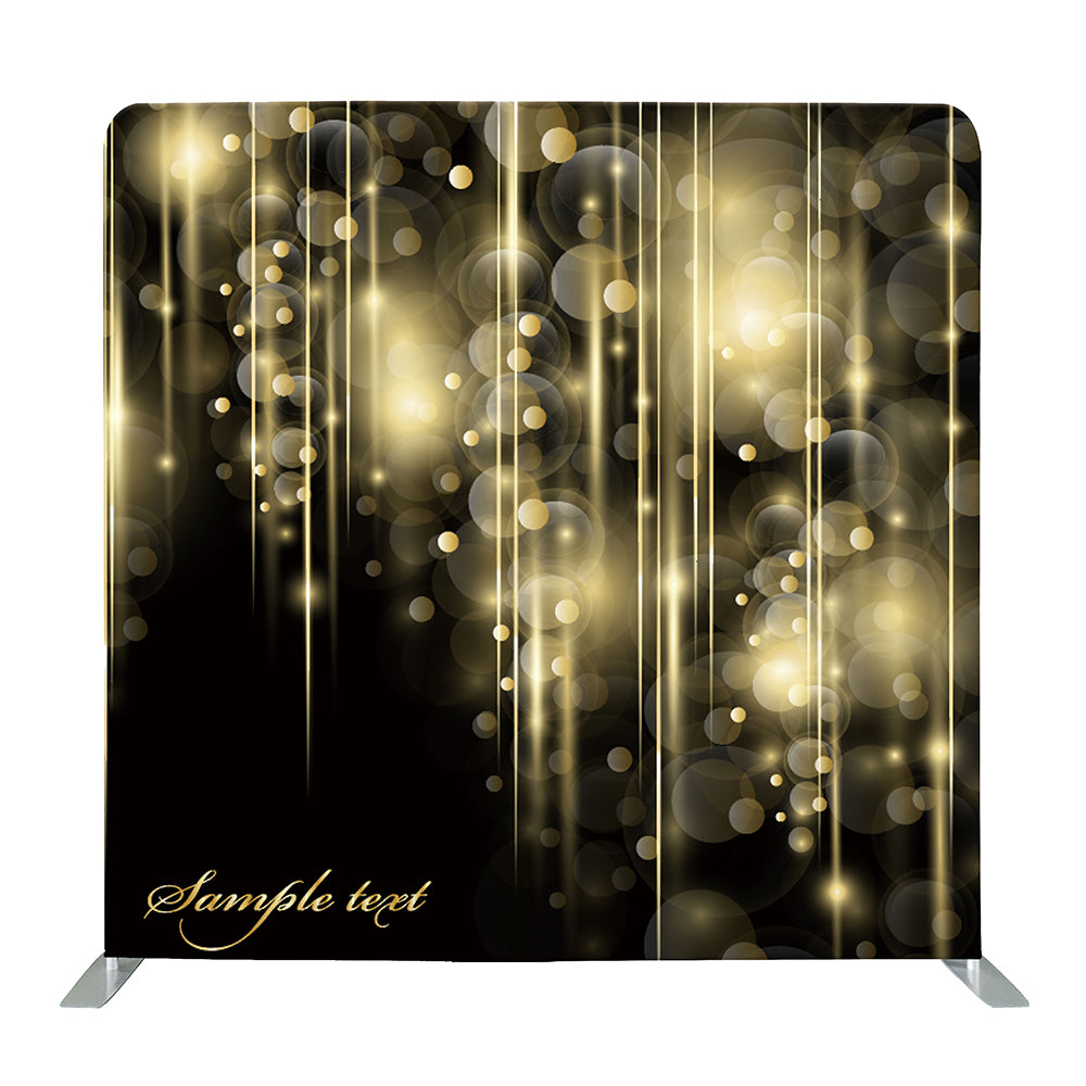 Patterned Gold Bokeh With Custom Text Tension Fabric Backdrop