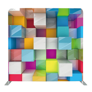 Colored 3D Cubes Tension Fabric Backdrop